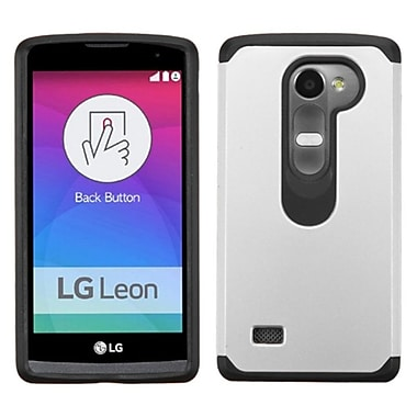 Insten Hard Hybrid Rubber Coated Silicone Cover Case For LG Leon, Silver/Black (2119178)