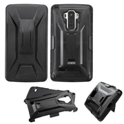 Insten Hard Hybrid Plastic Silicone Cover Case withHolster for LG G Stylo, Black by