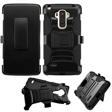 Insten Hard Dual Layer Plastic Silicone Case with Holster for LG G Stylo, Black