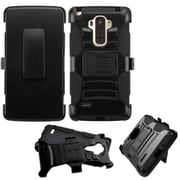 Insten Hard Dual Layer Plastic Silicone Case with Holster for LG G Stylo, Black by