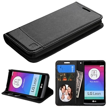 Insten Book-Style Leather Fabric Case With Stand And Card Slot/Photo Display For LG Leon, Black (2119521)