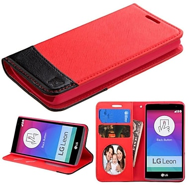 Insten Flip Leather Fabric Case With Stand/Card Slot/Photo Display For LG Leon, Red/Black (2119524)