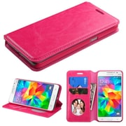 Insten Book-Style Leather Fabric Case withstand/card holder for Samsung Galaxy Grand Prime, Hot Pink