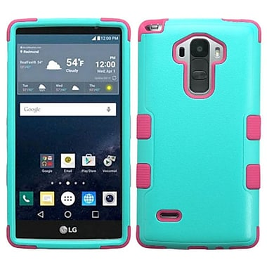 Insten Tuff Hard Hybrid Rubberized Silicone Case for LG G Stylo, Teal/Pink