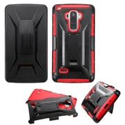 Insten Hard Hybrid Plastic Silicone Cover Case withHolster for LG G Stylo, Black/Red