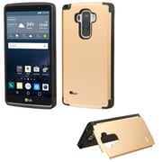 Insten Hard Rubber Coated Stand Cover Case withcard slot for LG G Stylo, Gold