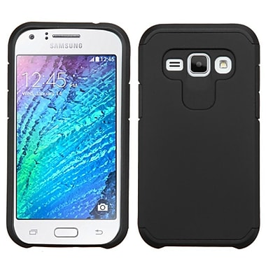 Insten Hard Dual Layer Rubber Silicone Cover Case For Samsung Galaxy J1, Black (2127230)