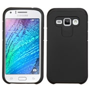 Insten Hard Dual Layer Rubber Silicone Cover Case for Samsung Galaxy J1, Black