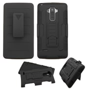 Insten Hard Dual Layer Plastic Silicone Case withHolster for LG G Stylo, Black by