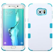 Insten Tuff Hard Hybrid Rubber Coated Silicone Cover Case for Samsung Galaxy S6 Edge Plus, White/Teal