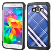 Insten Diagonal Plaid Hard Dual Layer Rubberized Silicone Cover Case for Samsung Galaxy Grand Prime, Blue/White