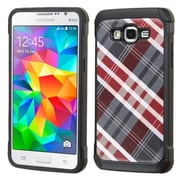 Insten Diagonal Plaid Hard Hybrid Rubber Coated Silicone Cover Case for Samsung Galaxy Grand Prime, Red/Gray