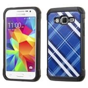 Insten Diagonal Plaid Hard Hybrid Rubberized Silicone Case for Samsung Galaxy Core Prime, Blue/White