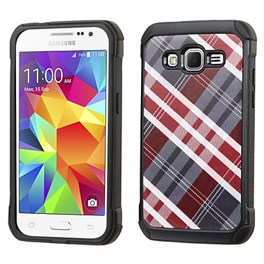 Insten Diagonal Plaid Hard Hybrid Shockproof Rubberized Silicone Case for Samsung Galaxy Core Prime, Gray/Red