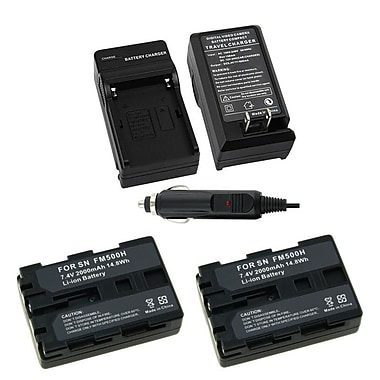Insten® Battery and Charger for Sony NP-FM500H Alpha DSLR-A350 A200 A300 A100 A900 SLT-A57, 2/Pack(267603)