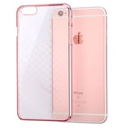 Insten Clear Crystal Slim Plaid Cross Patterned Transparent Case for iPhone 6 6S, Rose Gold