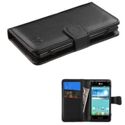 Insten Wallet Leather Case for iPhone 5 5S 5C/iPod Touch 5th 6th/LG Leon/ZTE Maven Overture 2 Fanfare Obsidian, Black