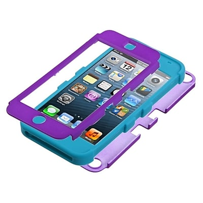 Insten Rubberized Tuff Hybrid Phone Case for Apple iPod touch 5th 6th Gen, Grape/Tropical Teal