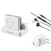 Insten Sync / Charging Cradle + Headset + Travel Charger Adapter for Apple iPod Shuffle 2