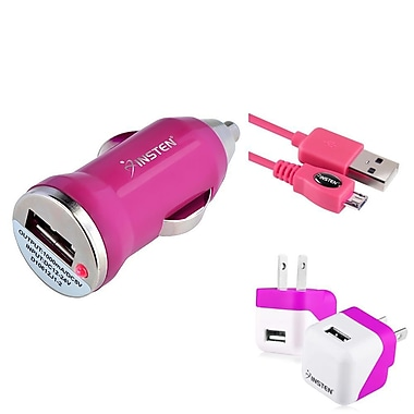 Insten® Hot Pink AC Wall Home, Car Charger Adapter and Micro USB Data Charge Cable Set (1593726)