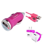 Insten Hot Pink AC Wall Home + Car Charger Adapter + Micro USB Data Charge Cable Set for HTC One M7 M8 / Motorola G X E