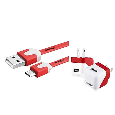 Insten Red Mini Travel Wall AC Charger + Micro USB Noodle Cable for Cellphone