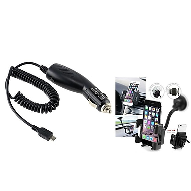 Insten® In Car DC Charger and Windshield Holder Mount for Samsung GALAXY Note 3 III N9000 Note 4 N9100(259690)