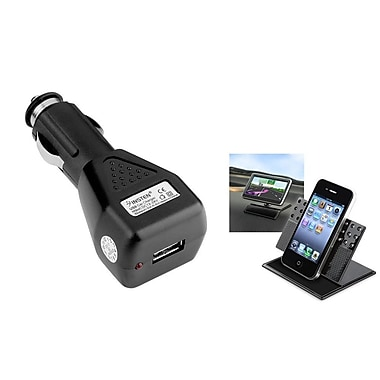 Insten Black Car USB Charger Power Adapter + Phone Holder Stand for Samsung Galaxy S7 S6 S5 S4 S3 Note 4 / iPhone 6 6+ 5S 5C 4