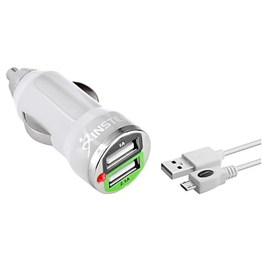 Insten Mini White Car Charger And USB Data Cable For Samsung Galaxy Note 4 (999427)