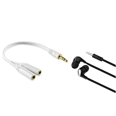 Insten Headset Earphone And Splitter For New iPad 2/3 iPod Touch 4 Shuffle Nano 5 6 MP3 Player, Black (352496)