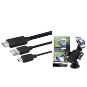 Insten 11-Pin Micro USB to HDMI Cable Adapter 6' for Galaxy S5 S4 S3 Note 3 2 Mega (Phone to HDTV) (w/Car Phone Holder)