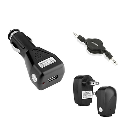 Insten 3.5mm Audio Cable And USB AC Wall And Car Charger For iPhone iPod Touch Samsung Galaxy Note 4 S5, Black (303865)