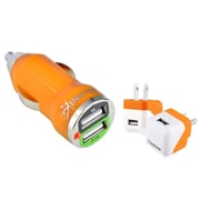 Insten Orange 2-Port Car DC Travel Wall Home AC Charger Adapter for Apple iPhone 6s 6 5S iPad Mini Air Phone Tablet HTC One