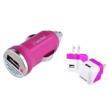 Insten Mini Hot Pink AC Wall Travel And Car DC USB Charger Power Adapter For iPhone iPad Air (1593687)