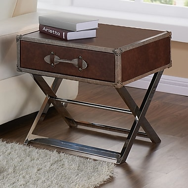 !nsprire Faux Leather/Chrome Accent Table, Brown