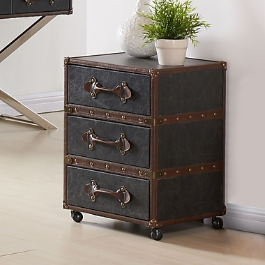 !nspire Faux Leather/Chrome Accent table with Castors, Grey
