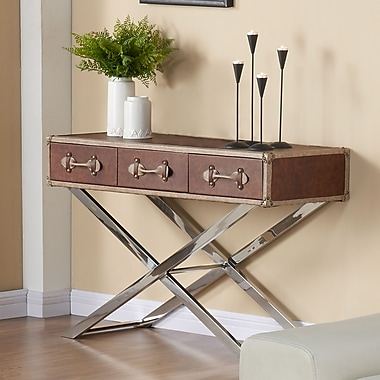!nspire Faux Leather/Chrome Console Table, Brown
