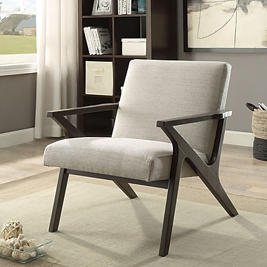 !nspire Fabric Wood Arm Accent Chair, Beige