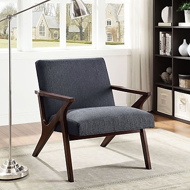 !nspire Fabric Wood Arm Accent Chair,Grey