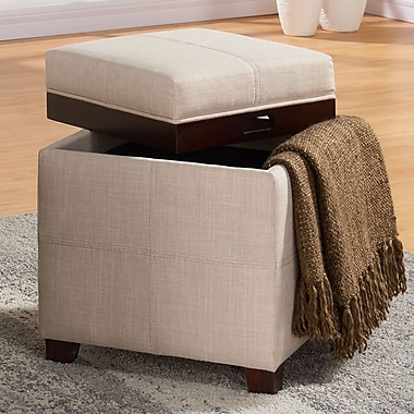 Storage Ottoman with Reversible Tray Lid, Beige Linen Fabric