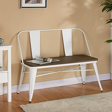 !nspire Industrial Double Bench, White Metal/Wood, 43.5