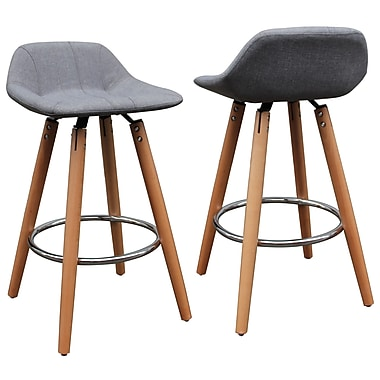 !nspire Low Back Counter Stool with Grey Fabric, 2/Pack