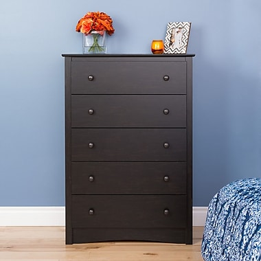 Prepac Riverdale 5-Drawer Dresser, Washed Black, (HDC-3345-V)