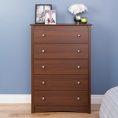 Prepac Riverdale 5-Drawer Dresser, Warm Cherry, (LDC-3345-V)