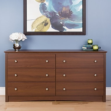 Prepac Riverdale 6-Drawer Dresser, Warm Cherry, (LDC-6330-V)