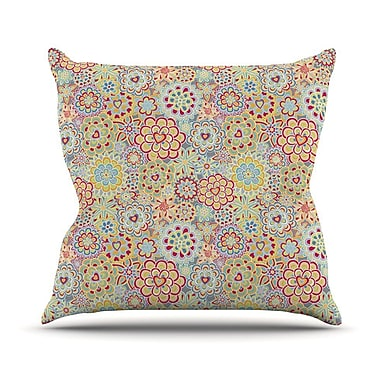 KESS InHouse My Happy Flowers in Red Outdoor Throw Pillow; 26'' H x 26'' W x 4'' D