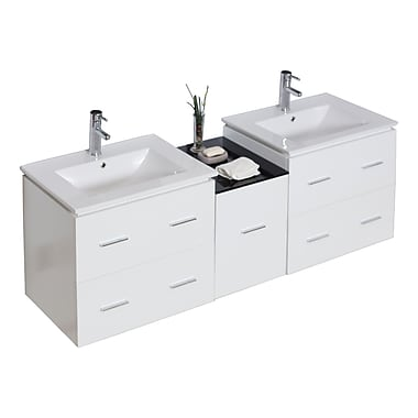 American Imaginations Modern 60'' Double Vanity Base; Chrome