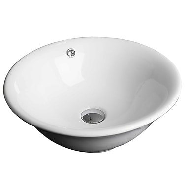 American Imaginations Above Counter Round Vessel Bathroom Sink w/ Overflow; Chrome