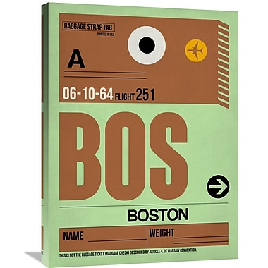 Naxart 'BOS Boston Luggage Tag 1' Graphic Art on Wrapped Canvas; 32'' H x 24'' W x 1.5'' D