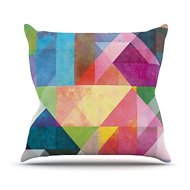 KESS InHouse Color Blocking Rainbow Abstract Outdoor Throw Pillow; 26'' H x 26'' W x 4'' D